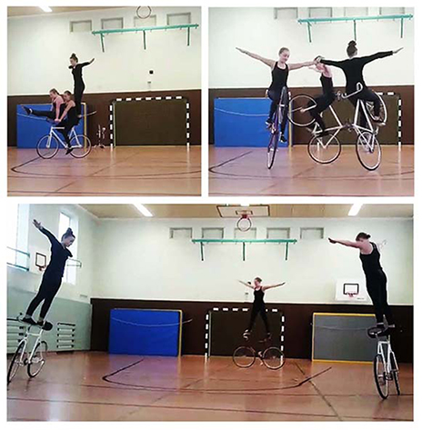 Auftritt der Kunstradfahrer am SG